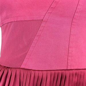 bebe Dresses - Bebe Satin Mesh Pleated Stretchy Fit & Flare Dress